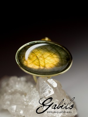 Labradorite Gold Ring