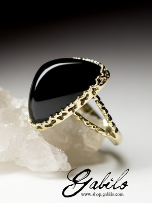 Made to order: Black Agate Gold Ring