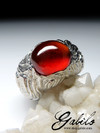 Big Garnet Hessonite Silver Ring