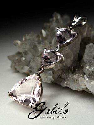 Morganite gold pendant