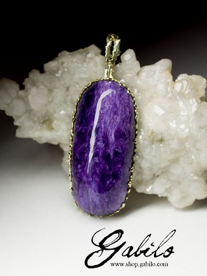 Gold Pendant with Charoite First Class