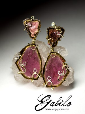 Slice tourmaline gold earrings