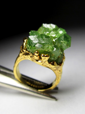 Demantoid Silver Gold Plated Ring