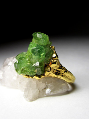 Ring with a demantoid silver with gilding