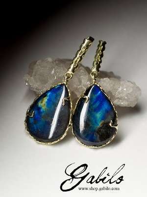 Labradorite Moonstone Gold Earrings