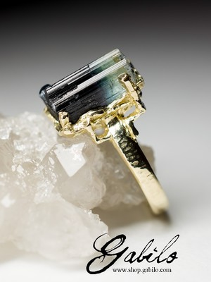 Tourmaline Crystal Gold Ring