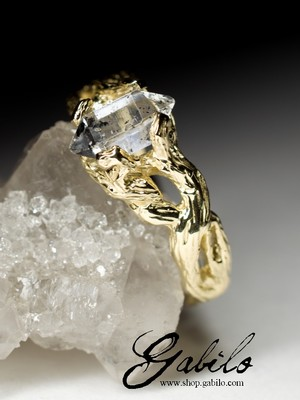 Herkimer Diamond Crystal Gold Ring