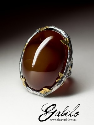 Large ring with carnelian in silver