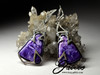 Charoite and Diamonds White Gold Earrings