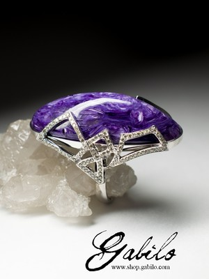 Charoite and Diamonds White Gold Ring