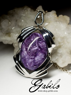 Pendant with charoite in silver