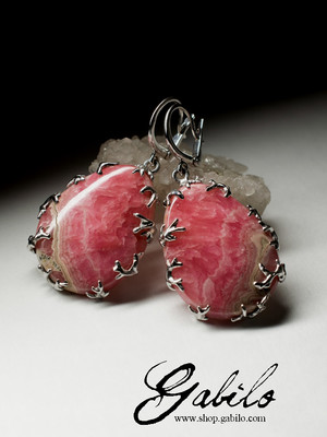 Earrings with rhodochrosite in silver