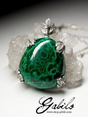 Pendant with Ural malachite in silver