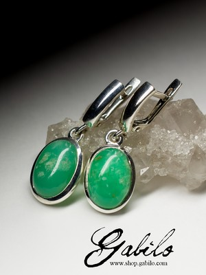 Earrings with chrysoprase in silver
