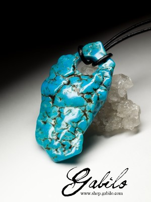 Big Turquoise Pendant with Gem Report MSU