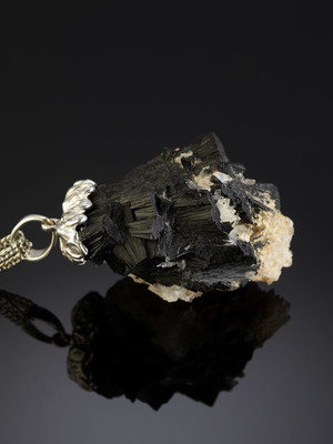 Suspension of black tourmaline with quartz in silver