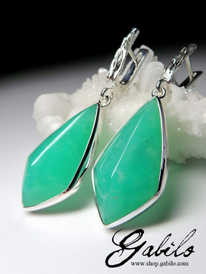 Big chrysoprase silver earrings
