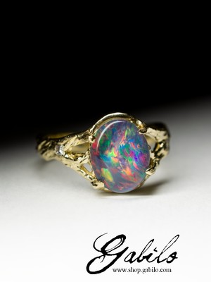 Made to order: Triplet Opal and Diamonds Gold Ring
