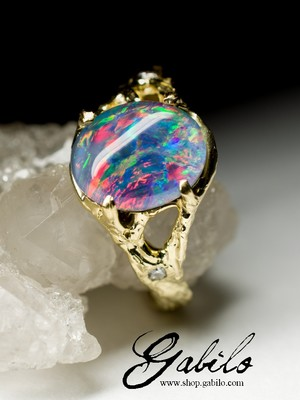 Triplet Opal and Diamonds Gold Ring