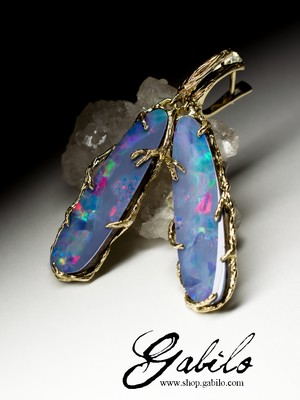 Made to order: Big doublet opal 14k gold earrings