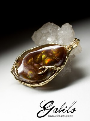 Fire Agate Gold Pengant