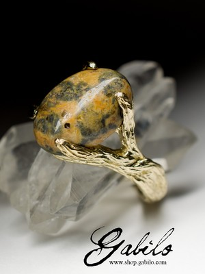 Golden ring with landscape jasper