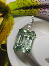 Green beryl and diamonds white gold necklace