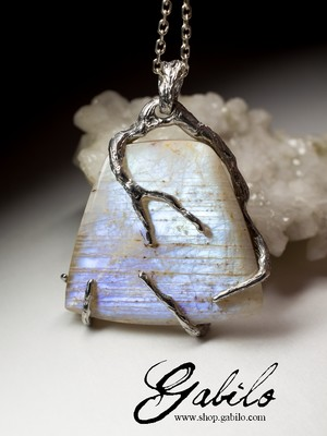 Belomorite moonstone silver necklace