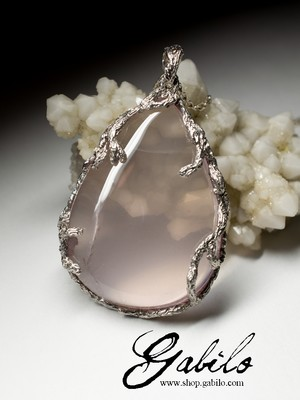 Large silver pendant with pink quartz