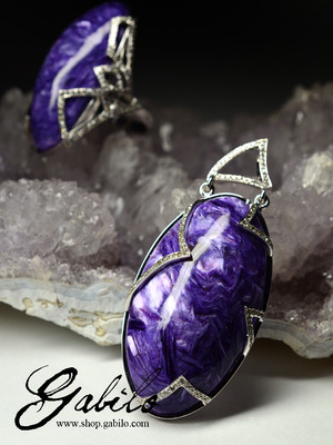 Charoite in white gold