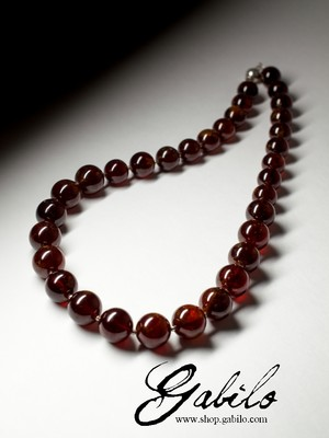 Big Hessonite Beaded Necklace