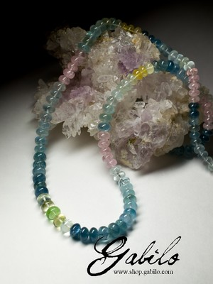 Big colored beryl beaded necklace