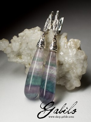 Earrings with fluorite in silver