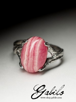 Ring with rhodochrosite in silver