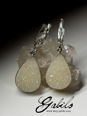 Earrings with quartz in silver