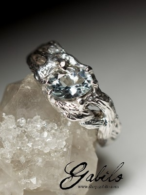 Aquamarine silver ring with jewellery report MSU