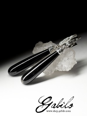 Earrings with black tourmaline in silver