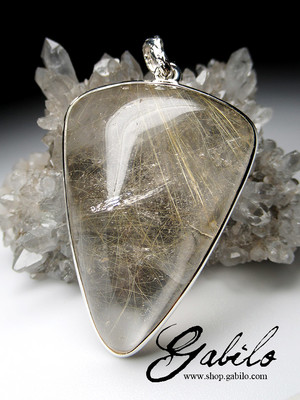 Rutilated quartz silver pendant