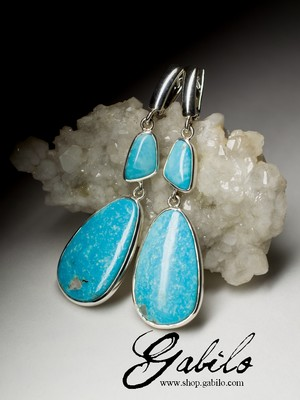 Large earrings with turquoise in silver