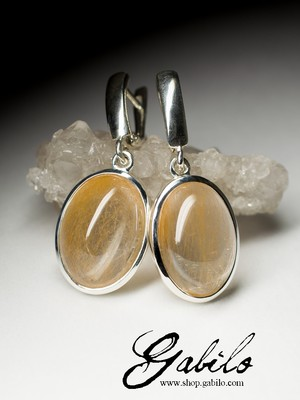 Earrings with quartz hairworm in silver
