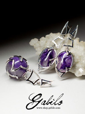 Gold earrings with charoite and diamonds