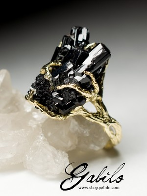 Black Tourmaline Gold Ring