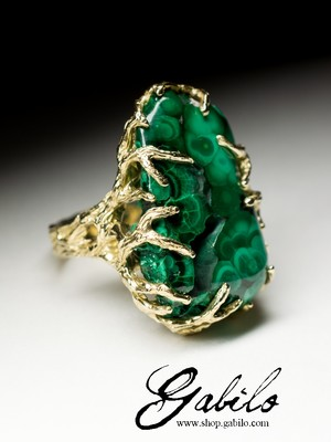 Big malachite gold ring