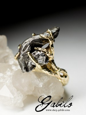 Gold ring with a meteorite