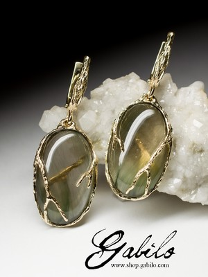 Rock Crystal Gold Earrings