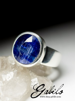 Men's silver ring with kyanite