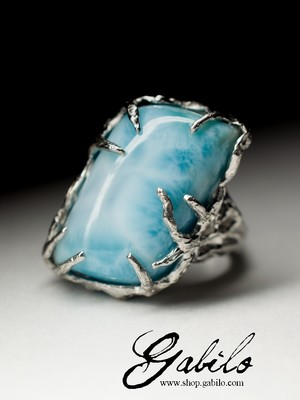 Silver ring with larimar
