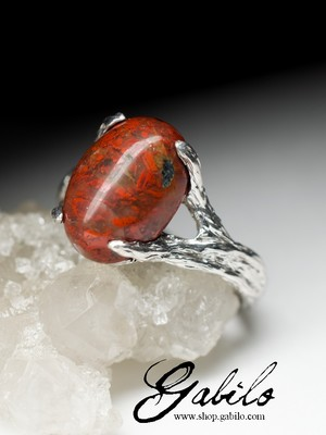 Silver rings with red jasper