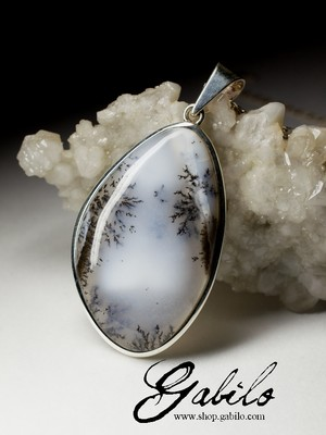 Large silver pendant with moss agate