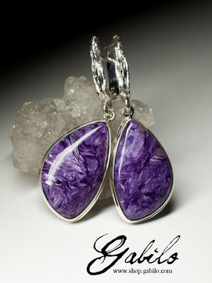Earrings with charoite in silver